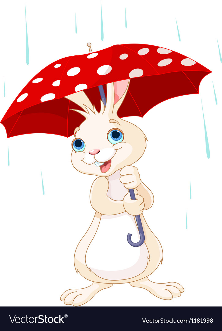 Bunny under umbrella vector | Price: 3 Credit (USD $3)