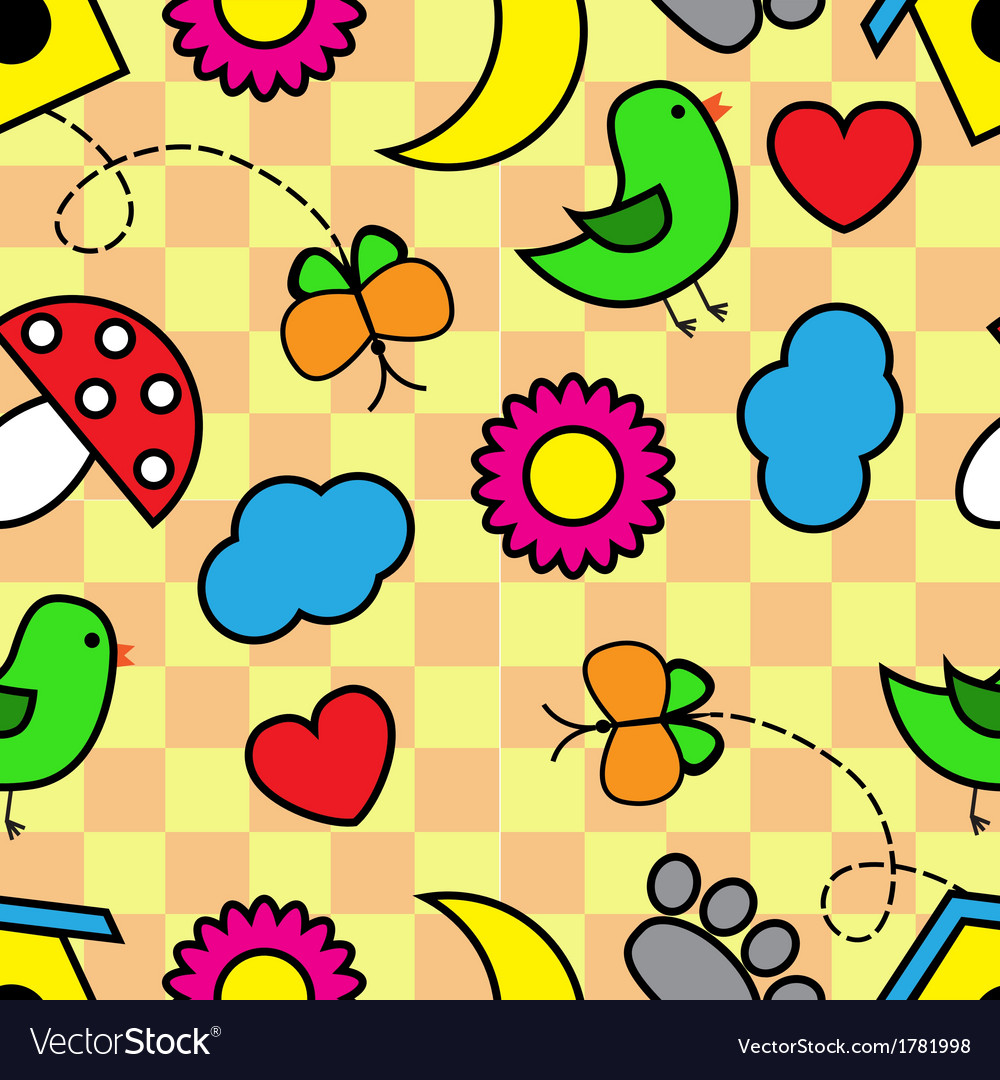 Cartoon seamless pattern with flora and fauna vector | Price: 1 Credit (USD $1)