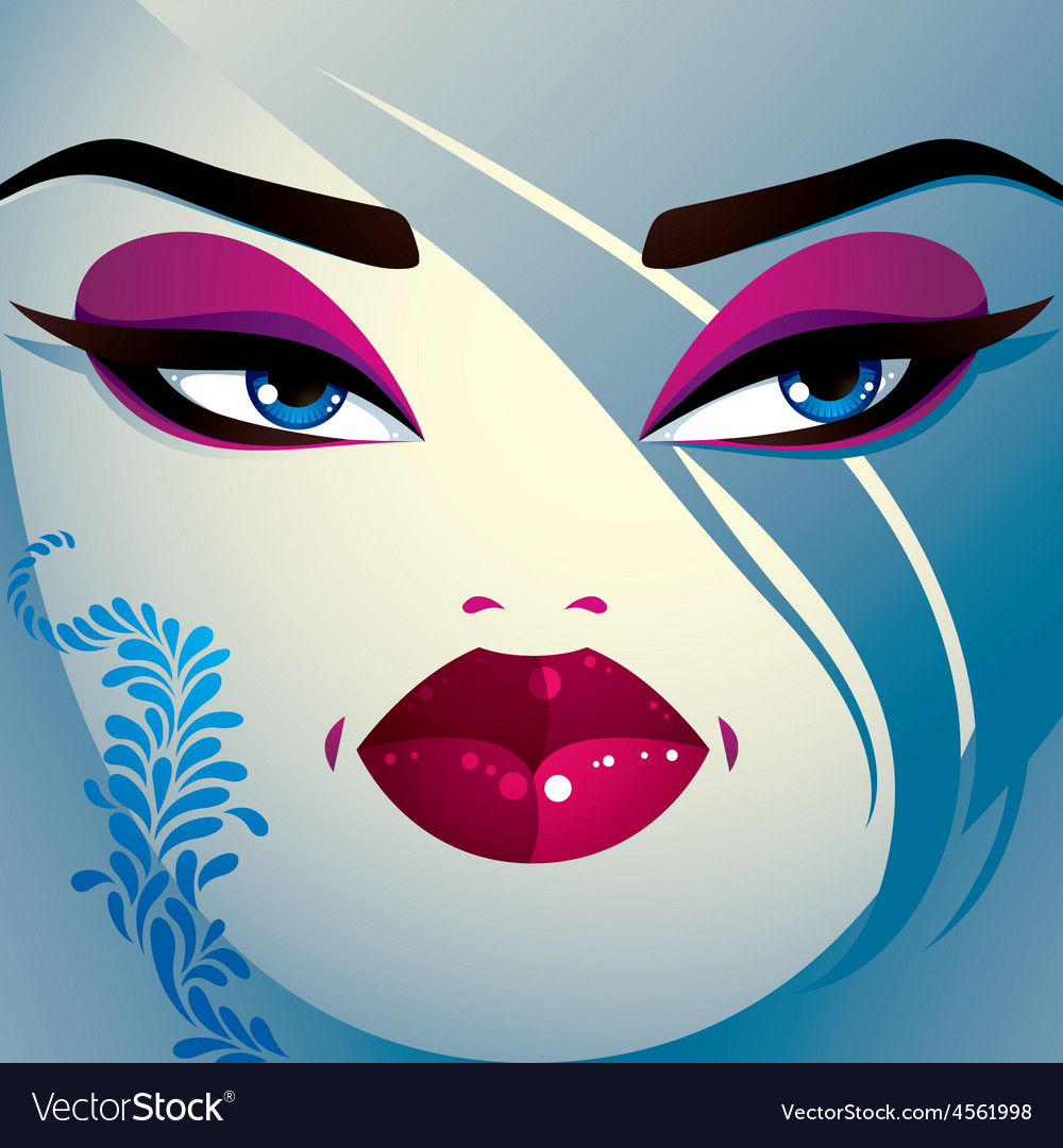 Coquette woman eyes and lips stylish makeup and vector | Price: 1 Credit (USD $1)