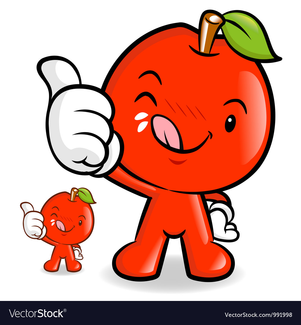 Delicious red apple character vector | Price: 3 Credit (USD $3)