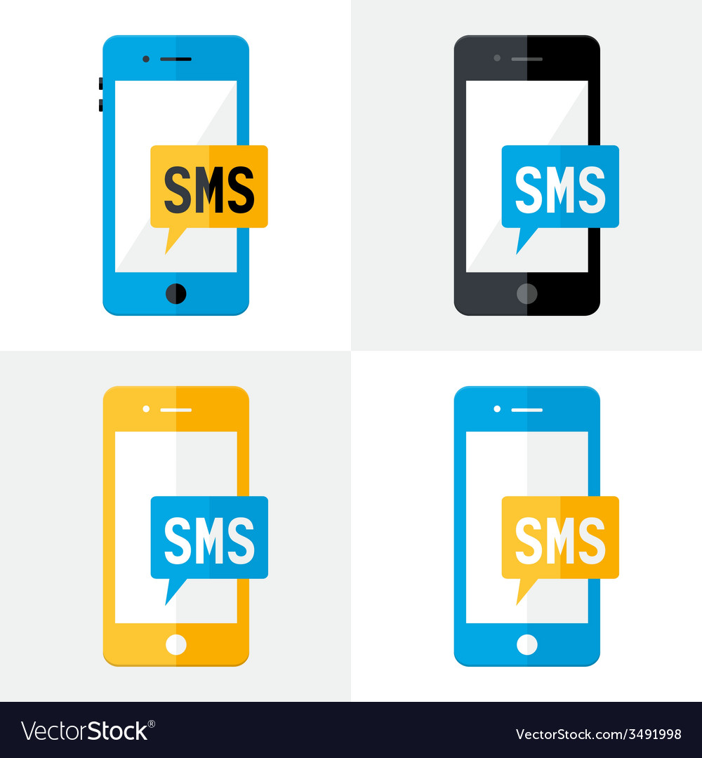 Sms mobile flat set vector | Price: 1 Credit (USD $1)
