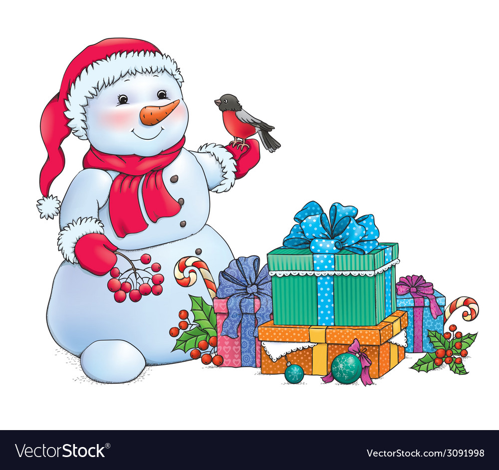 Snowman and christmas gifts vector | Price: 1 Credit (USD $1)