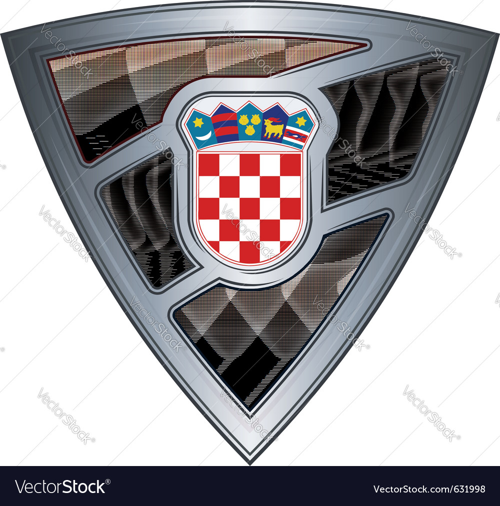 Steel shield with flag croatia vector | Price: 1 Credit (USD $1)