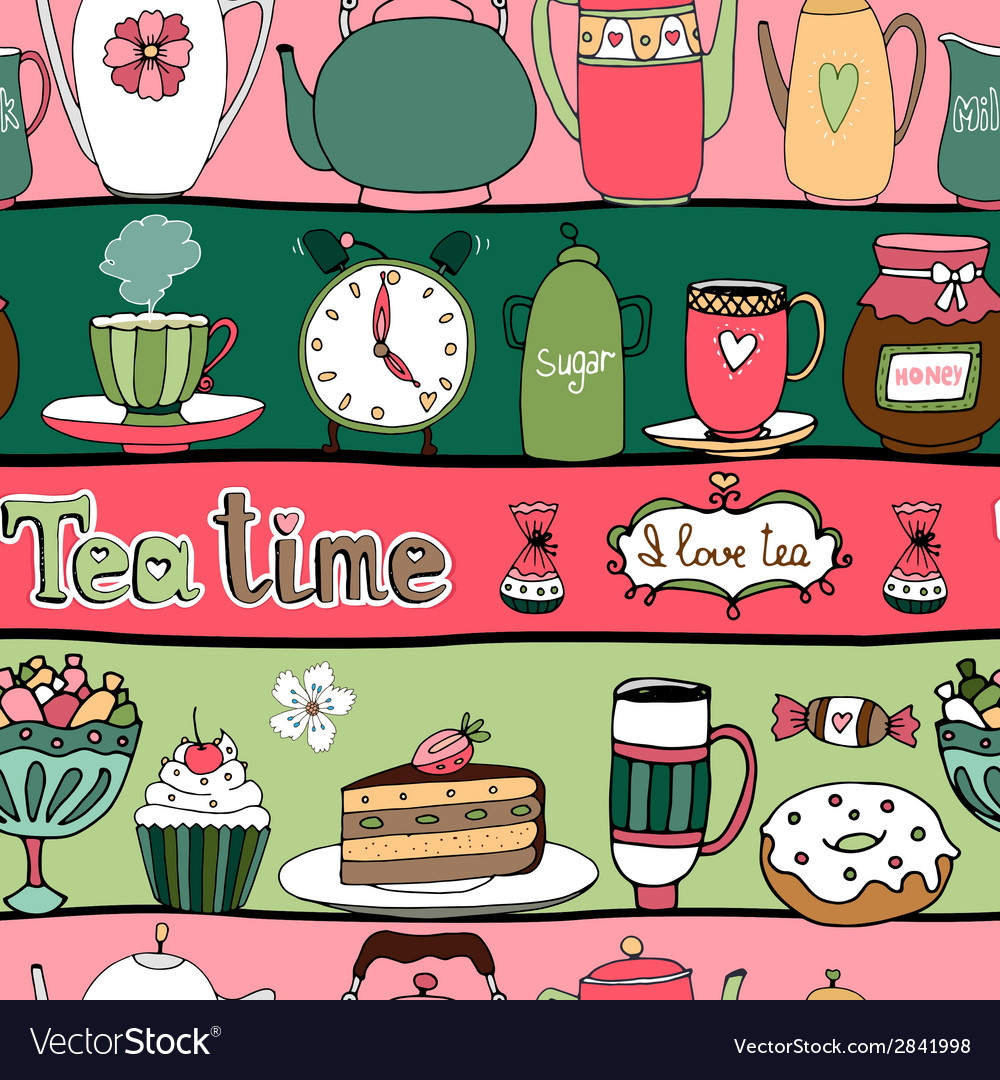 Tea time seamless background pattern vector | Price: 1 Credit (USD $1)