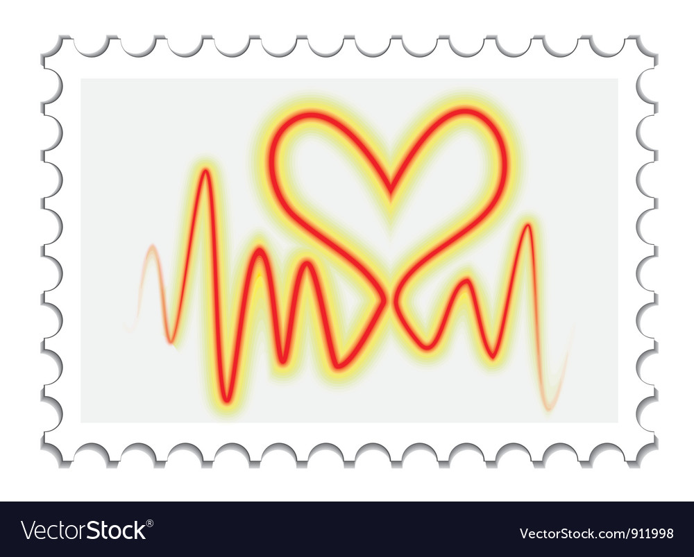 Valentines day post stamp vector | Price: 1 Credit (USD $1)