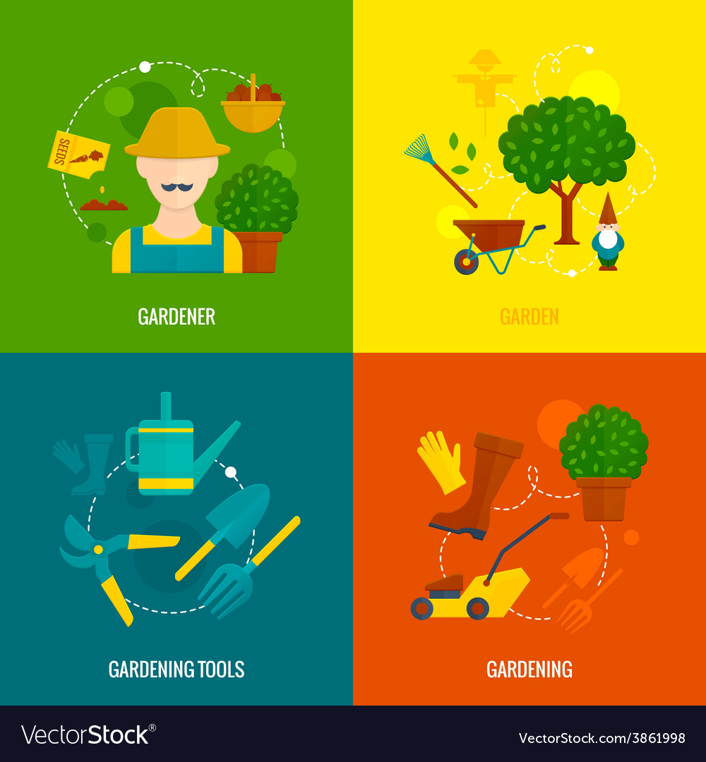 Vegetable garden flat icons composition vector | Price: 1 Credit (USD $1)