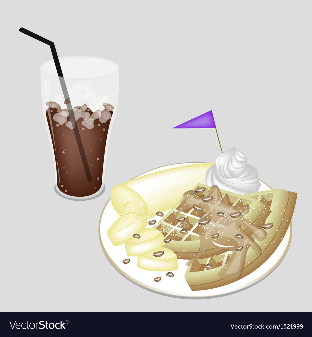 A delicious iced coffee with tradition waffle vector | Price: 1 Credit (USD $1)
