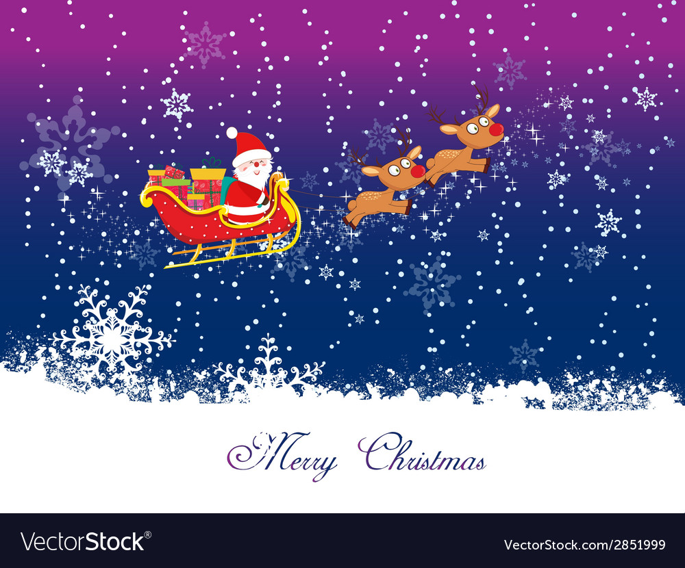 Christmas card with santa claus 1 vector | Price: 1 Credit (USD $1)