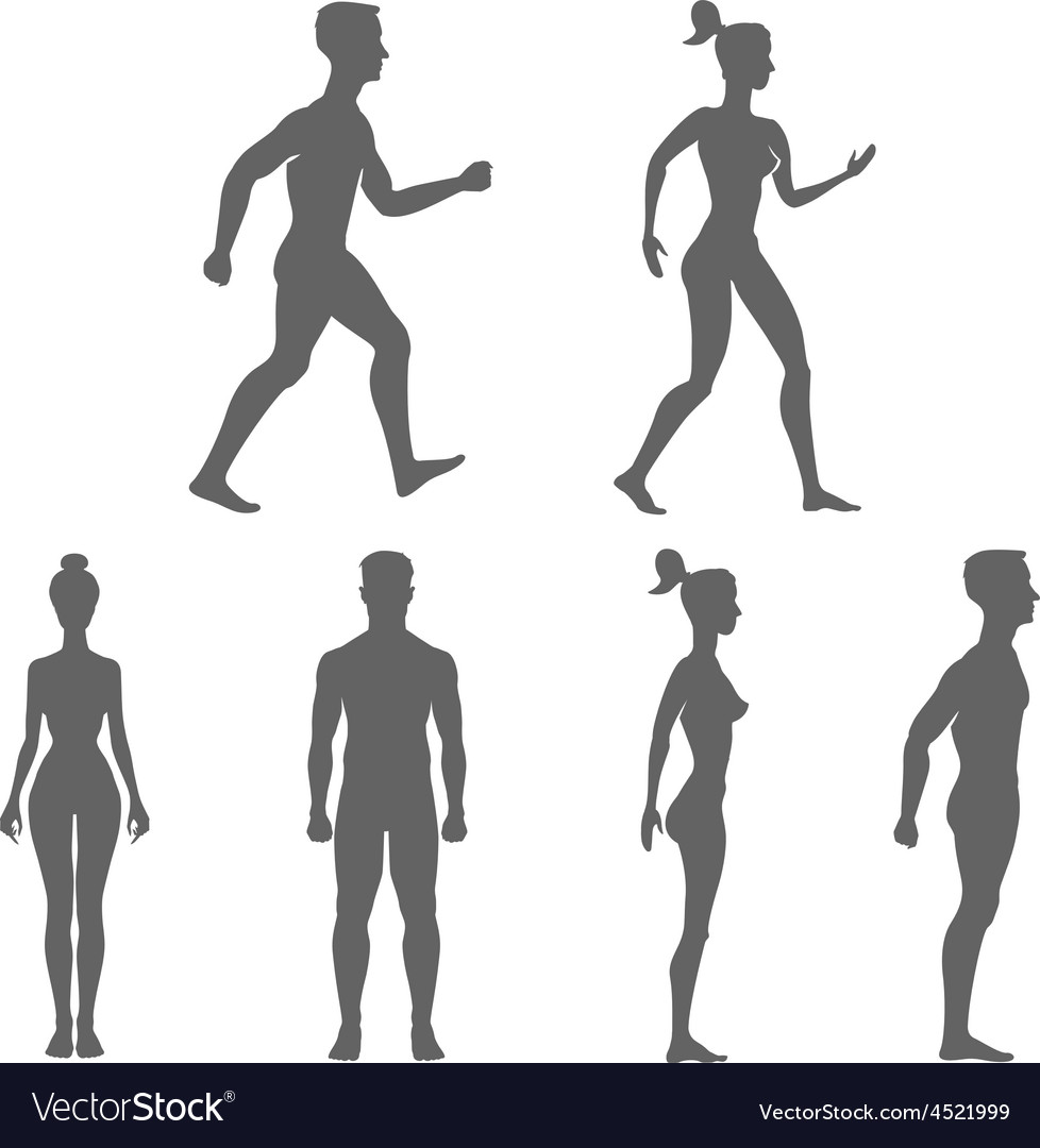 Collection of silhouettes man and woman isolated vector | Price: 1 Credit (USD $1)