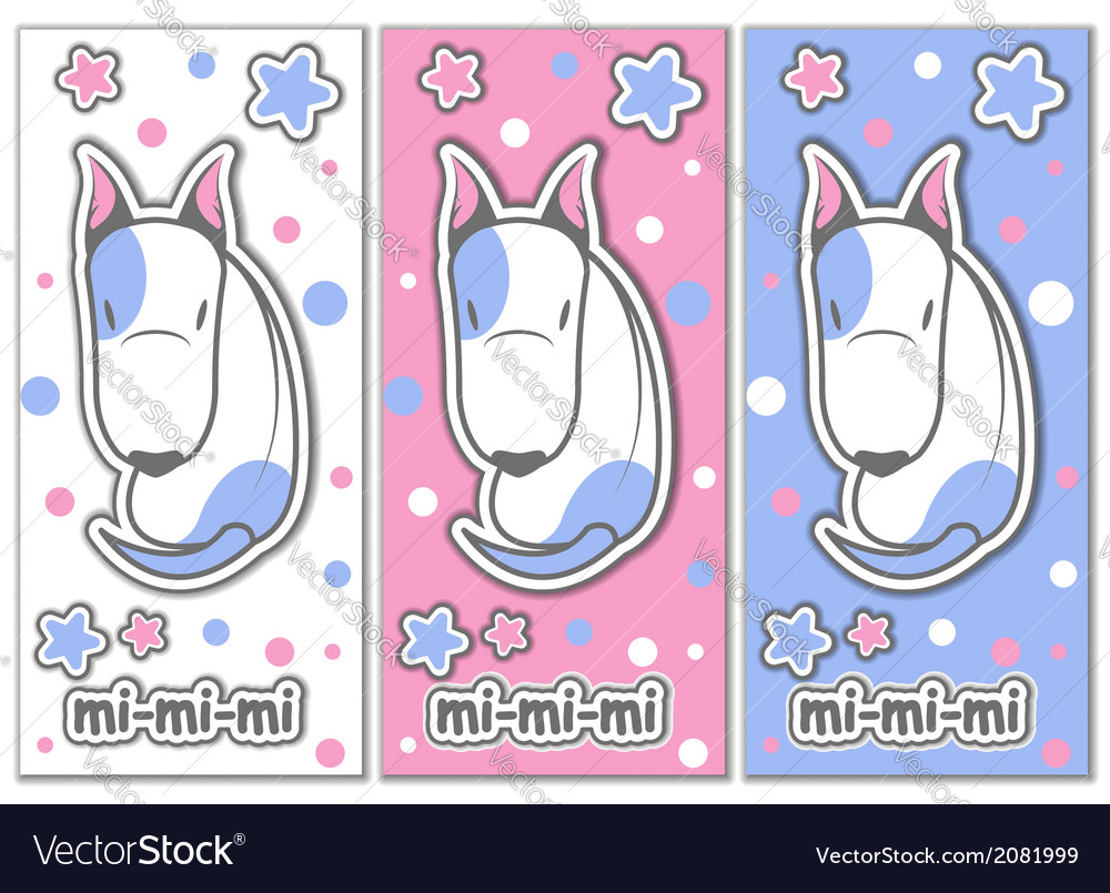 Cute bull terrier with stars vector | Price: 1 Credit (USD $1)