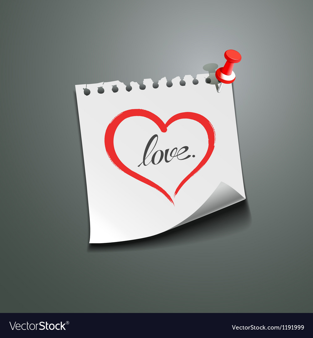 Red heart paper note love message vector | Price: 1 Credit (USD $1)