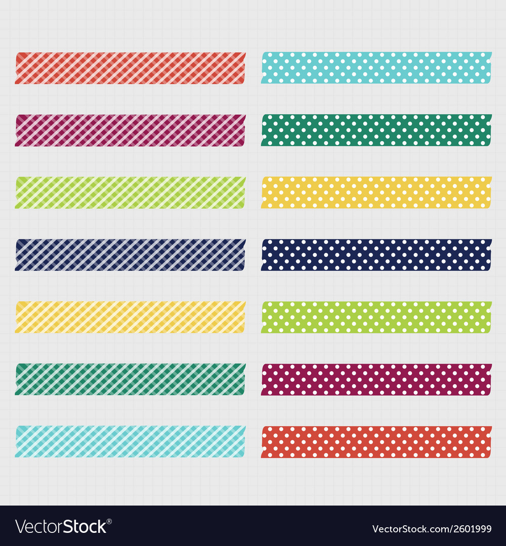 Set of cute patterned washi tape strips vector | Price: 1 Credit (USD $1)