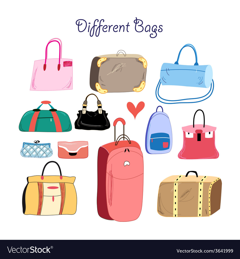 Set of different bags vector | Price: 1 Credit (USD $1)