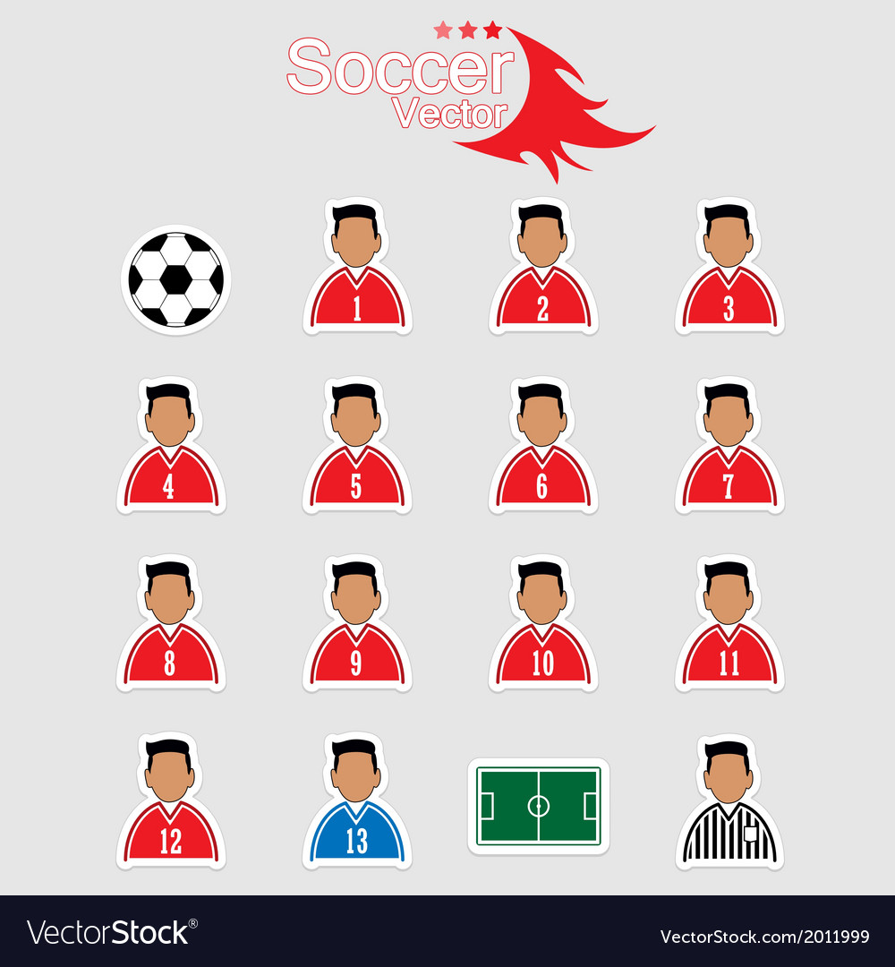 Soccer player icons with white background vector | Price: 1 Credit (USD $1)