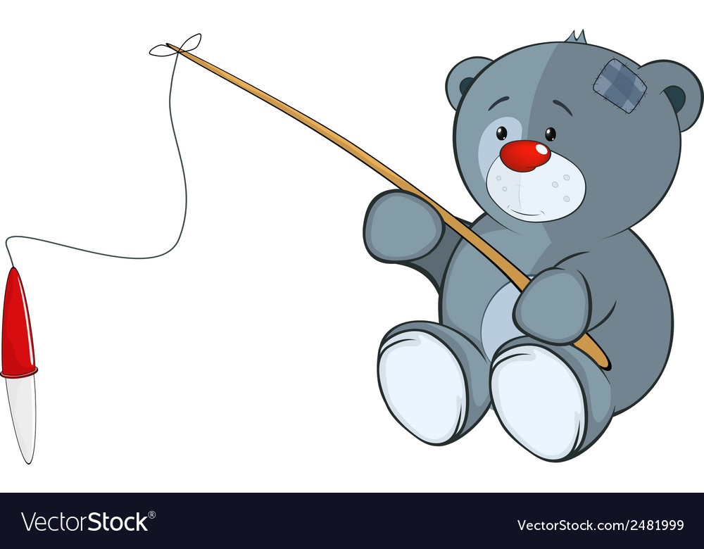 The stuffed toy bear cub the fisherman cartoon vector | Price: 1 Credit (USD $1)