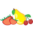 Fruit pear strawberry and cherry vector