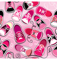 Seamless pattern - children gumshoes on pink backg vector