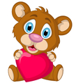 Cute little brown bear cartoon holding heart love vector