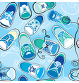 Seamless pattern - children gumshoes on blue backg vector