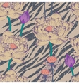 Seamless floral pattern on zebra background vector