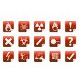Danger sticker icon sign set vector