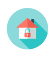 Open house with padlock circle flat icon vector