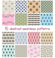 Different shapes seamless patterns vector