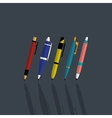 Set colorfull pens vector