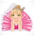 Beautiful ballerina girl in pink dress lie on vector