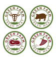Green farm and fresh meat vintage labels vector
