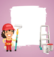 Female painter with back vector