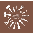 Hand drawn leather craft tools vector