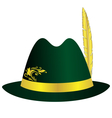 Green hat with golden feather ribbon and ornament vector