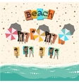 Summer beach with sunbathing people vector