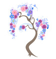 flowering tree with blue flowers and bird vector