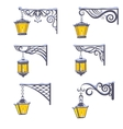 Vintage street lanterns with snow vector