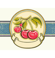 Red cherries background vintage label on old paper vector