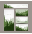 Business cards design with green forest background vector