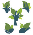 Hands and leaves vector
