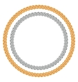 Figured gold and silver chain - round frame vector