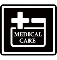 Black medical care icon vector