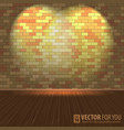 Brick wall with lighting and wooden floors vector