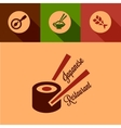 Flat japanese restaurant icons vector