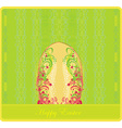 Easter greeting card with decorative egg vector
