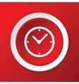 Clock icon on red vector