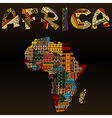 Africa map with african typography made of vector