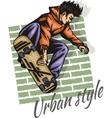 Jump on a skateboard - color vector