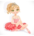 Beautiful ballerina girl in pink dress sit on vector