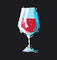 Hand drawn sketch of a glass of wine vector