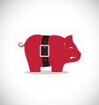 Pink pig piggy bank with tight belt vector